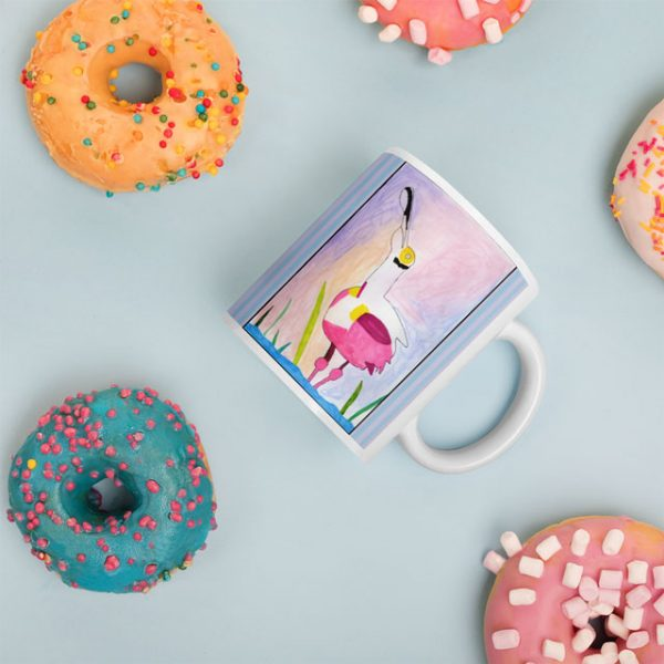 Spoonbill Mug with Donuts